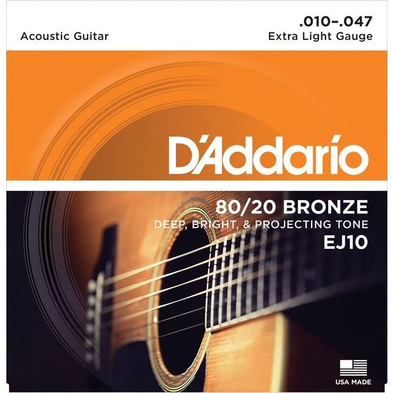 D'addario EJ10 80/20 Bronze Acoustic Guitar Strings - 10-47