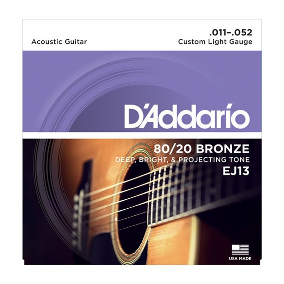 D'addario EJ13 80/20 Bronze Acoustic Guitar Strings - 11-52