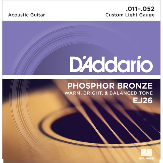 D'addario EJ26 Phosphor Bronze Acoustic Strings - 11-52