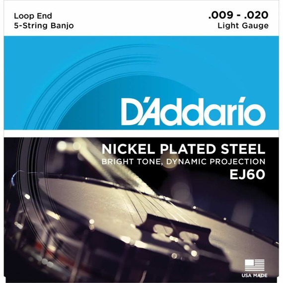 D'addario 5 String Nickel Banjo String Set - Light 9-20