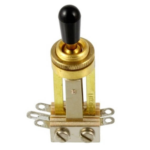 Switchcraft Straight Toggle Switch - 3 Way RETRO STYLE - WITH CAP - GOLD