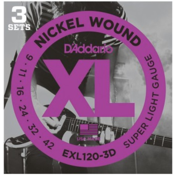 D'addario EXL120 Electric Guitar Strings 9-42 - 3 Sets