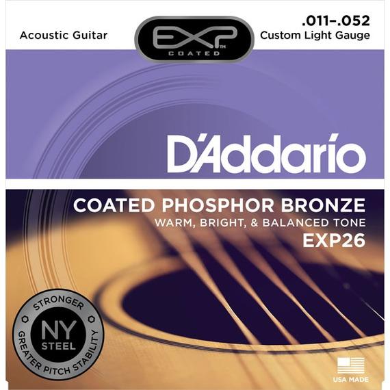 D'addario EXP26 Coated Phosphor Bronze Acoustic Strings - 11-52