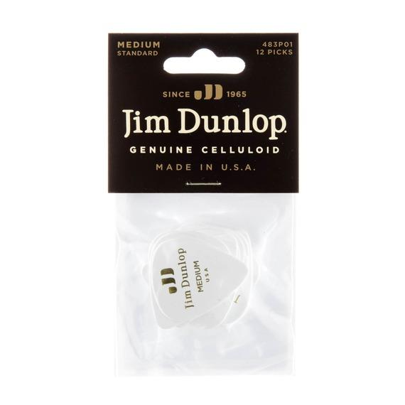Jim Dunlop 483P01 Classics Celluloid Pick - Medium White 12 Player Pack