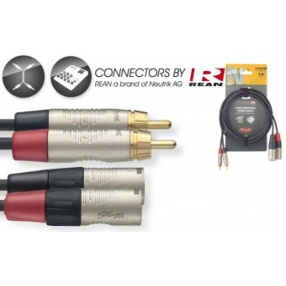 Stagg N-Series 2 x Male XLR - 2 x Male RCA Cable - 3 Metre