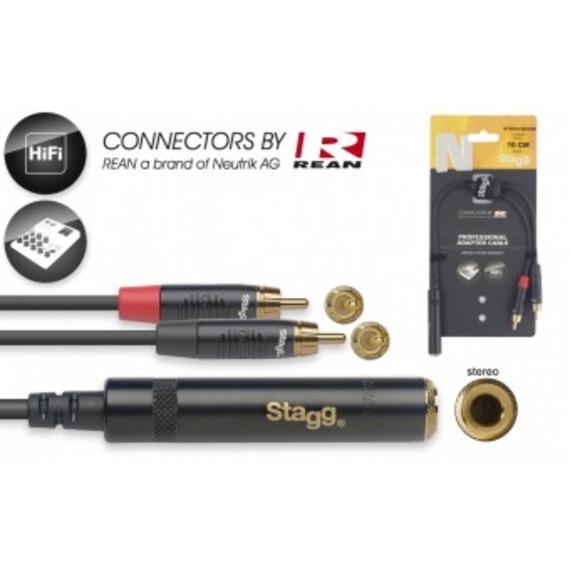 "Stagg N-Series Stereo 1/4"" Jack Socket - 2 x Male RCA - 10cm"