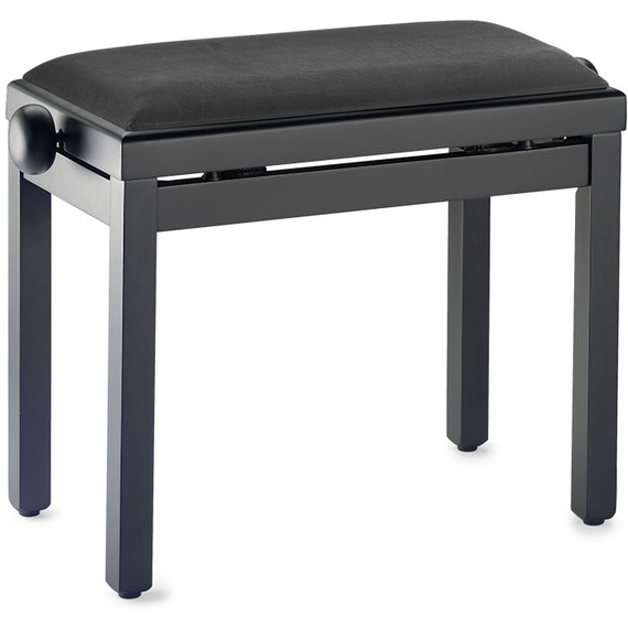 Stagg Complete Height Adjustable Piano Bench - Matt Black With Black VELVET Top