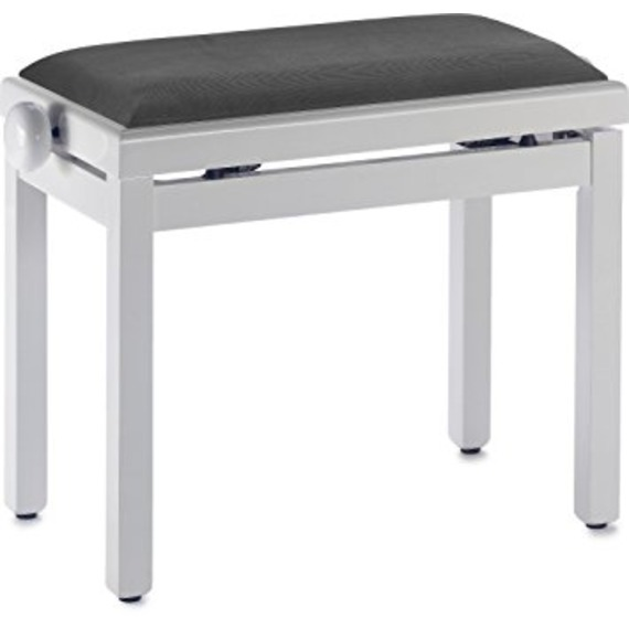 Stagg Complete Height Adjustable Piano Bench - Gloss White With Black VELVET Top