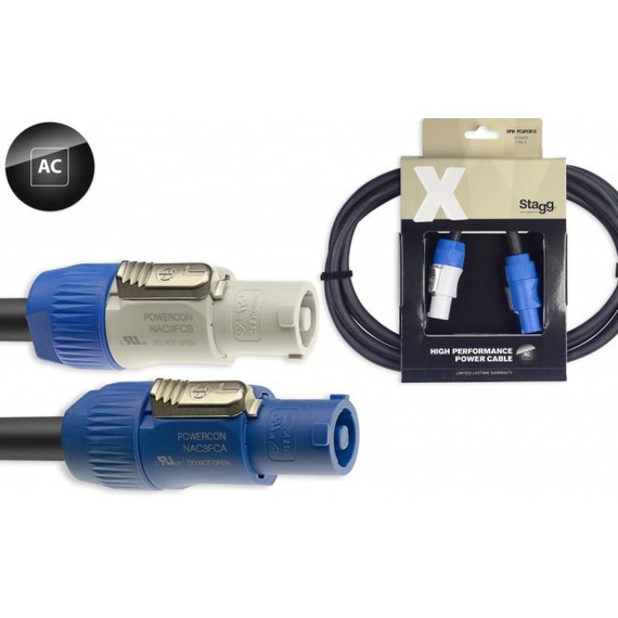Stagg X Series Power Cable Power Con - Power Con - 1.5 Metre