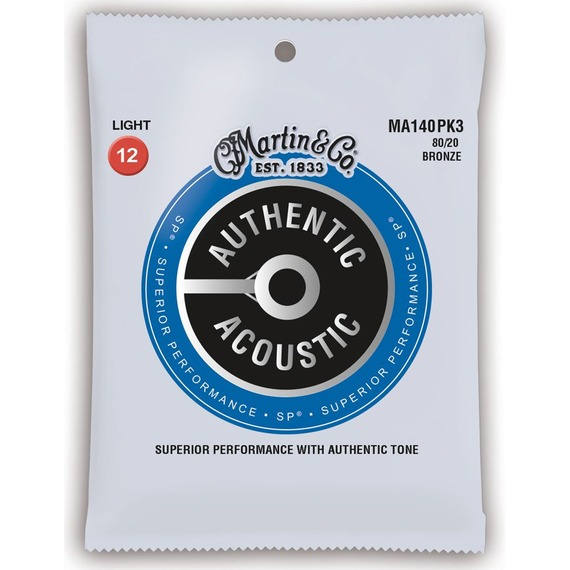 Martin 3 Pack Authentic Acoustic Strings Sp 80/20 Bronze