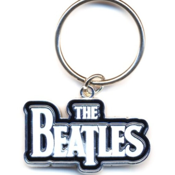 Official Beatles Drop T Logo White Key Ring