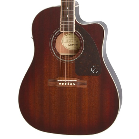 Epiphone AJ-220SCE Solid Top Electro Acoustic - Mahogany Burst