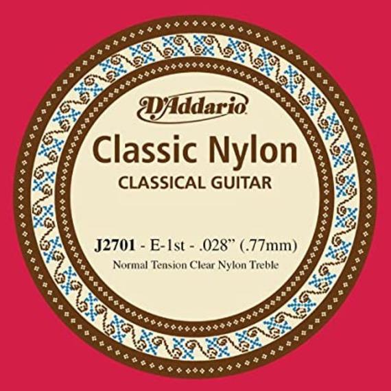 D'addario J27 Clear Nylon Treble Single Classical Strings