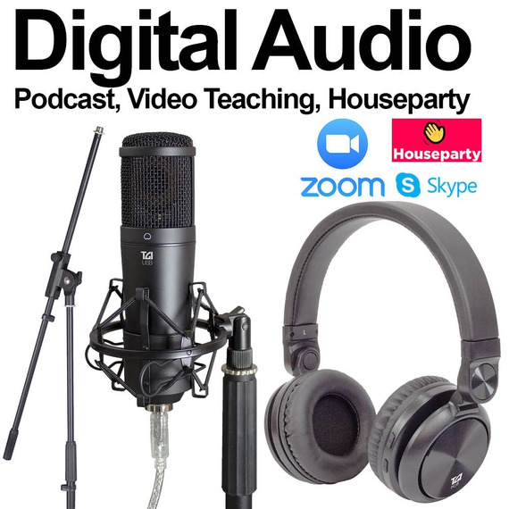 TGI Digital Audio Recording Pack USB Mic, Stand & Headphones