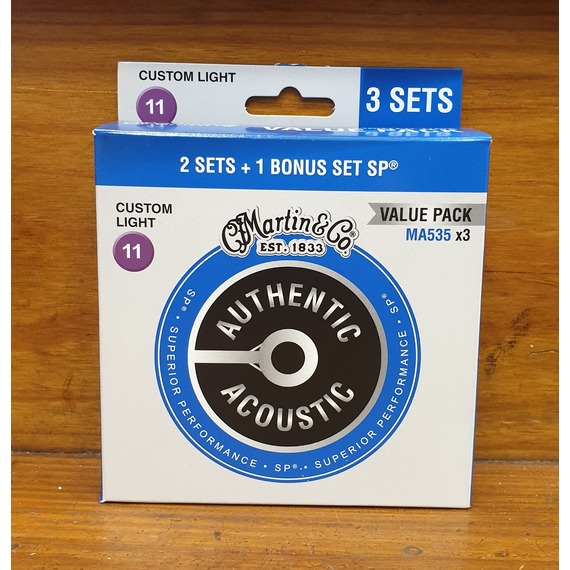 Martin Authentic Acoustic Strings SP Phosphor Bronze 3 PACK