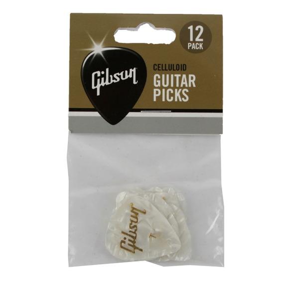 Gibson White Pearloid Picks - 12 Pack