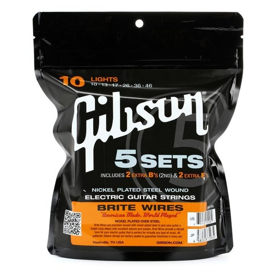 Gibson Brite Wires Electric Guitar Strings 10-46 - 5 Sets