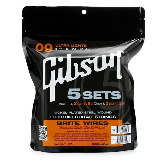 Gibson Brite Wires Electric Guitar Strings 9-42 - 5 Sets