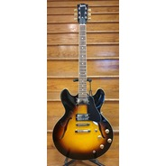 Burny RSA-65 Double Cut Semi Hollow Electric Guitar - Brown Sunburst